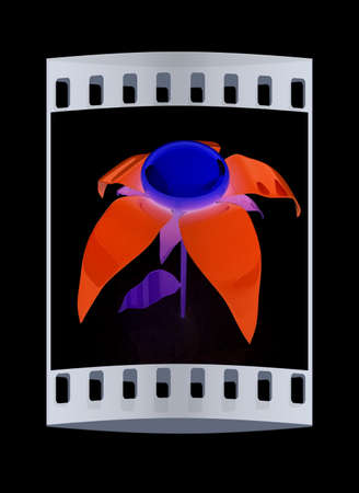potting soil: Flower icon 3d. The film strip