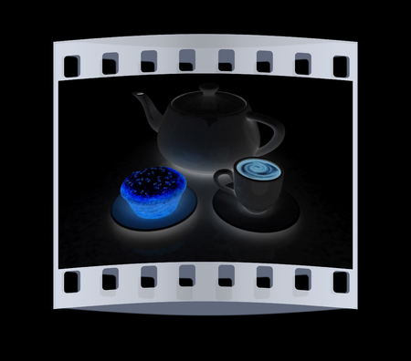 appetizing: Appetizing pie and cup of coffee on a black background. The film strip