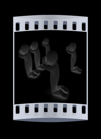pious: 3d mans on his knees. Christian prayer concept. The film strip