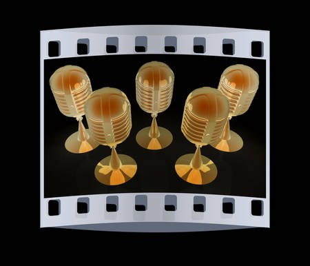 imagery: 3d rendering of a microphones. The film strip