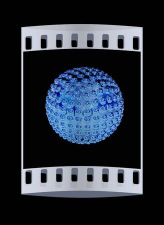 blotchy: Abstract glossy sphere with pimples. The film strip Stock Photo
