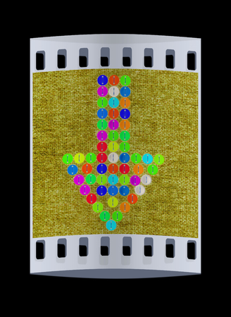 sewn: colorful real button arrow sewn to the cloth. The film strip
