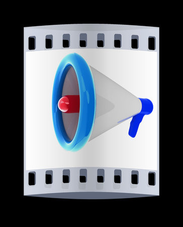 announcement icon: Loudspeaker as announcement icon. The film strip