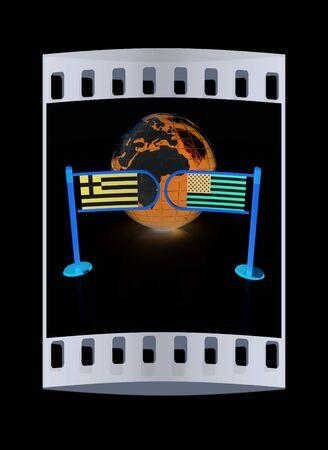pacto: Imagen tridimensional del torniquete y las banderas de EE.UU. y Grecia sobre un fondo negro. La tira de película