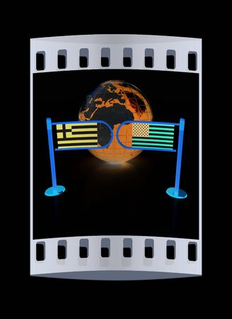 pacto: Three-dimensional image of the turnstile and flags of USA and Greece on a black background. The film strip