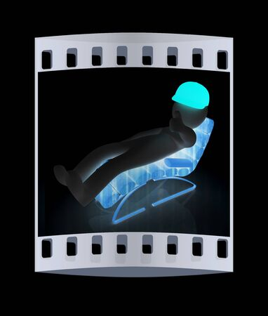 3d white man lying wooden chair with thumb up on black background. The film strip