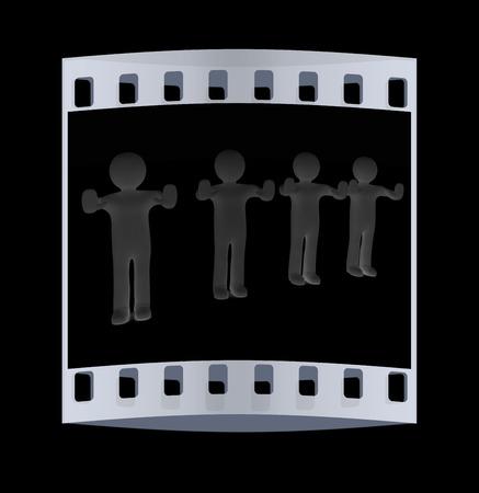 weta: 3d mans. Ban, veto, warning concept - making stop gesture. The film strip Zdjęcie Seryjne
