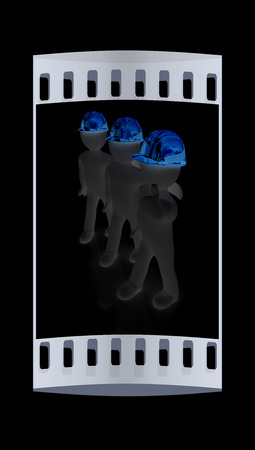 3d mans in a hard hat with thumb up. On a black background. The film strip Stock Photo