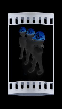 i like: 3d mans in a hard hat with thumb up. On a black background. The film strip Stock Photo