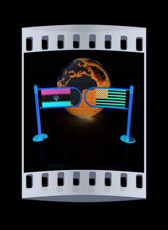 truce: Three-dimensional image of the turnstile and flags of USA and Iran on a black background. The film strip
