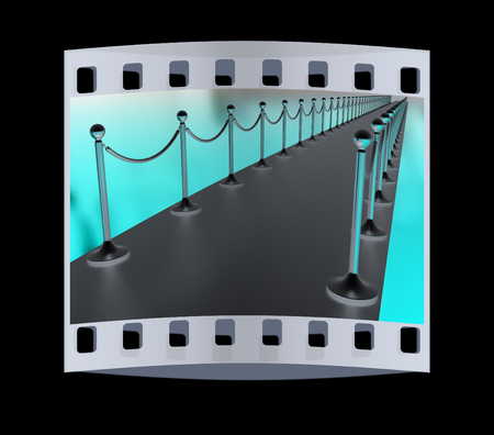 path to success: 3d illustration of path to the success on a black background. The film strip