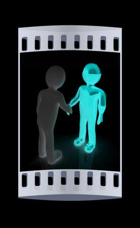 mans: Handshake. 3D mans. The film strip