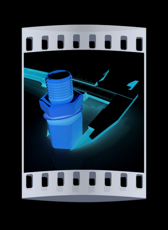 remount: Trammel vernier on a black background measures the detail. The film strip Stock Photo