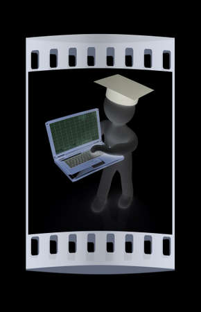 alumni: 3d man in graduation hat with laptop on a black background. The film strip