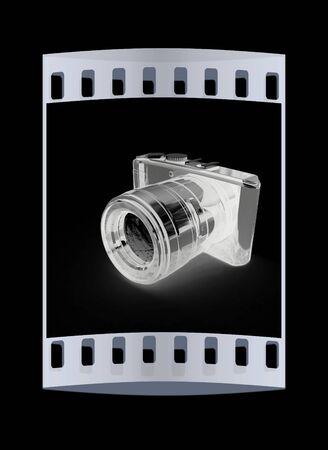 polarized: 3d illustration of photographic camera on black background. The film strip