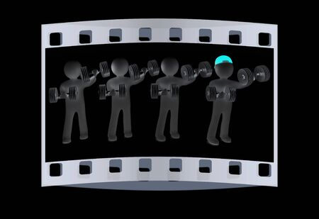 chrome man: 3d mans with metall dumbbells on a black background. The film strip