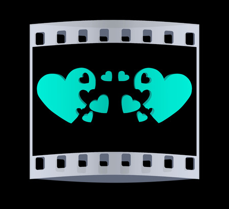 affiance: 3d hearts family concept. The film strip