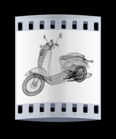 moped: Vintage Retro Moped. 3d model. The film strip