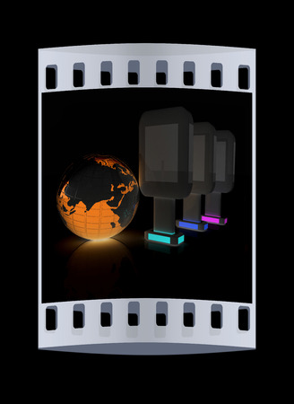 adboard: Vertical glossy billboards and earth. 3d illustration on black background. The film strip Stock Photo