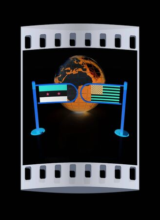 truce: Three-dimensional image of the turnstile and flags of USA and Syria on a black background. The film strip