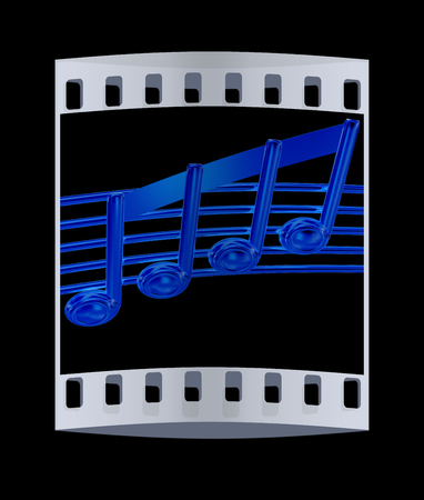 3d music: 3D music note on staves on a black. The film strip Stock Photo