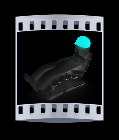 sammer: 3d white man lying chair with thumb up on black background. The film strip