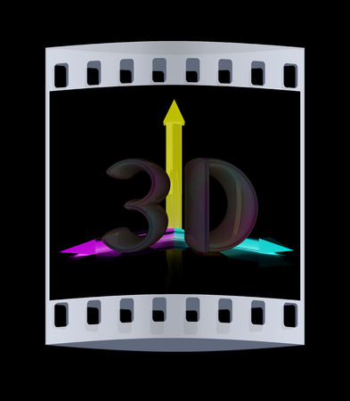 third eye: 3D text. The film strip Stock Photo