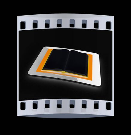 tablet pc and opened book on black background. The film strip Stock Photo
