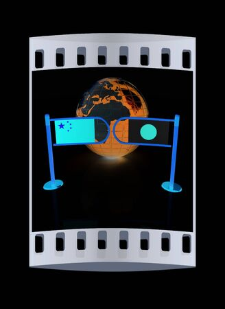 truce: Three-dimensional image of the turnstile and flags of China and Japan on a black background. The film strip