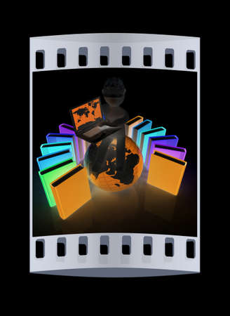 hard working man: 3d man in hard hat sitting on earth and working at his laptop and books around his on a black background. The film strip Stock Photo