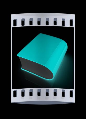 bookshop: Glossy Book Icon isolated on a black background. The film strip Stock Photo