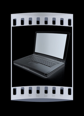 powerbook: Laptop Computer PC on a black background. The film strip Stock Photo