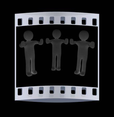 veto: 3d mans. Ban, veto, warning concept - making stop gesture. The film strip Stock Photo