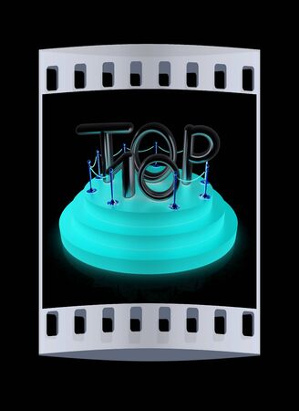 top ten: Top ten icon on black background. 3d rendered image. The film strip