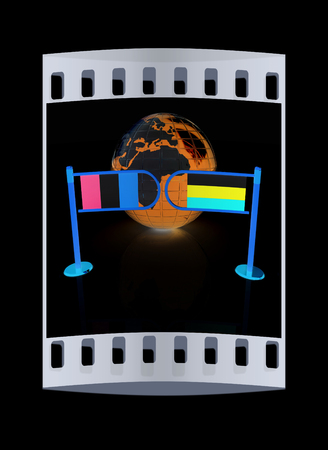 irish sea: Three-dimensional image of the turnstile and flags of Ireland and Russia on a black background. The film strip Stock Photo