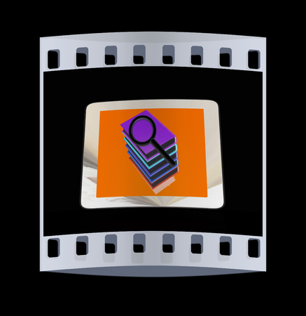 gprs: Phone colorful real books and find the icon on the screen on black background. The film strip Stock Photo