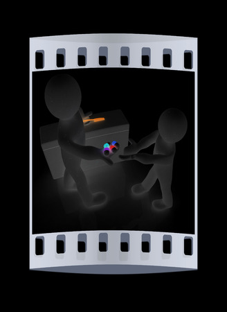 doctor giving pills: Doctor giving pills on a black background. The film strip Stock Photo