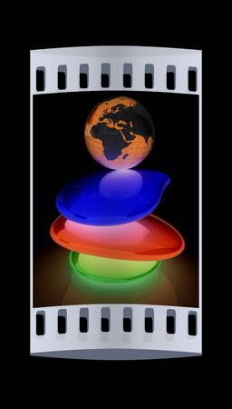 earth handful: Colorfull earth on spa stones. 3d icon. The film strip