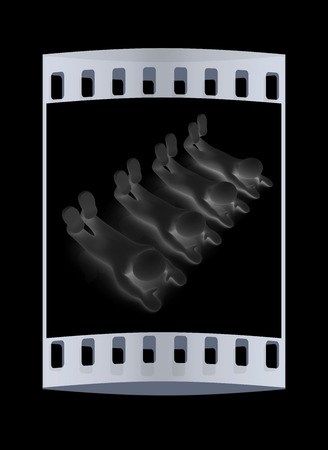 flexibility: 3d mans isolated on black. Series: morning exercises - flexibility exercises and stretching. The film strip Stock Photo