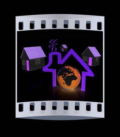 circuit sale: 3d green house, earth and icon house on black background. The film strip Stock Photo