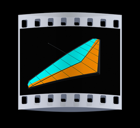 hang glider: Hang glider isolated on a black background. The film strip