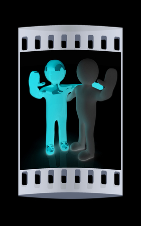 ones: Friends standing next to an embrace and raised ones hand for greeting. 3d image. Isolated black background. The film strip Stock Photo