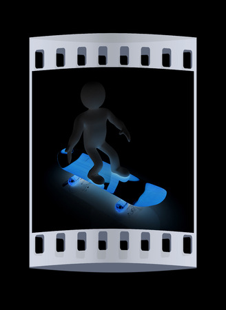 little skate: 3d white person with a skate and a cap. 3d image on a black background. The film strip