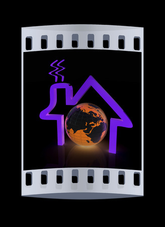 habitable: 3d green icon house, earth on black background. The film strip