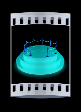 handrail: 3D podium with gold handrail. The film strip