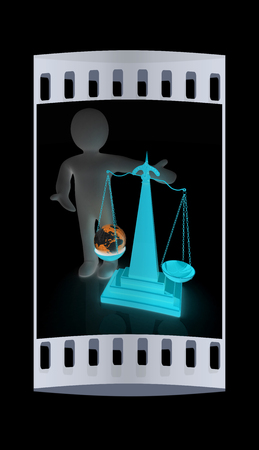 philosophical: 3d people - man, person presenting the philosophical concept: Earth lighter than vanity. The film strip Stock Photo