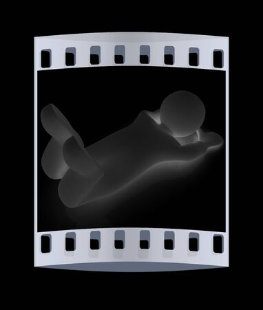 flexibility: 3d man isolated on black. Series: morning exercises - flexibility exercises and stretching. The film strip