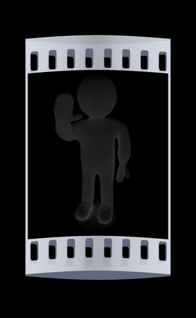 3d man: 3d man isolated on black. Series: human emotions - greeting Hi. The film strip