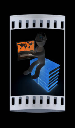 living wisdom: 3d man in hard hat sitting on books and working at his laptop on a black background. The film strip