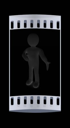 happy 3d: Happy 3d business man showing copy space, isolated on black. The film strip